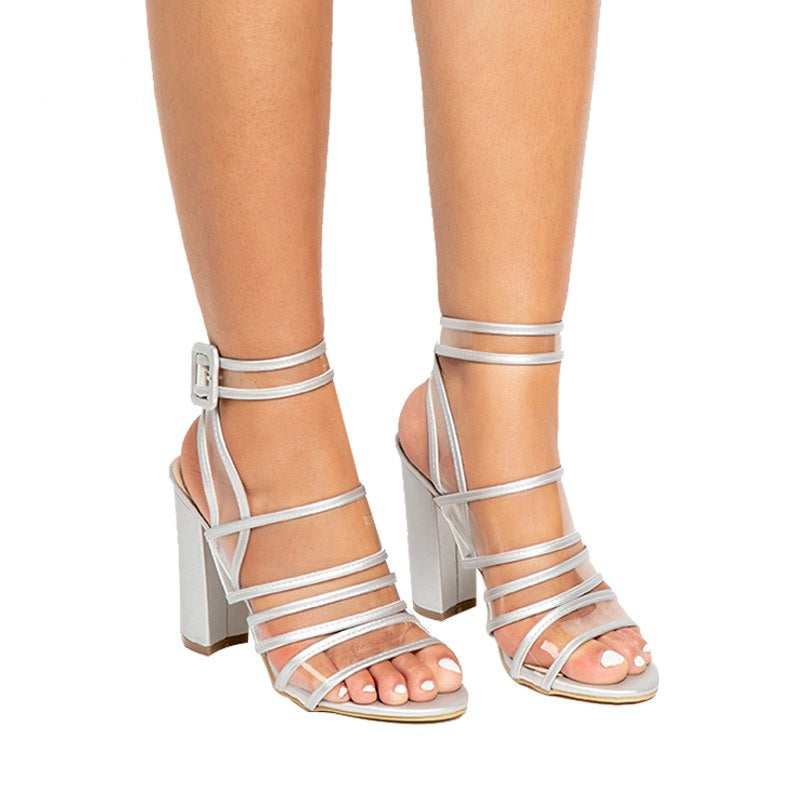 Women's Summer High-Heeled Transparent Ankle Strap Sandals