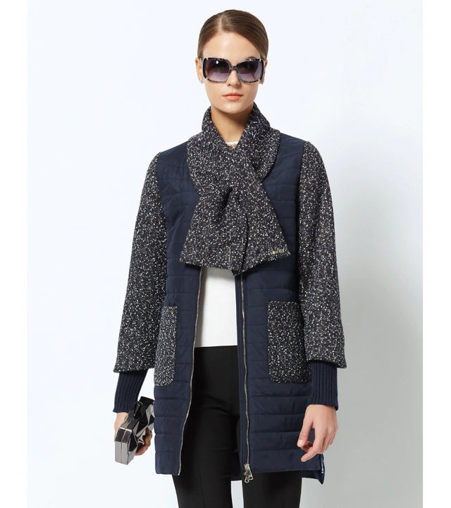 Women's Spring Stylish Warm Round Collar Jacket With Scarf