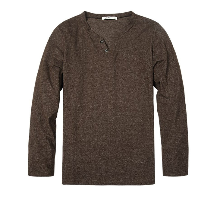 Men's Spring/Autumn Casual V-Neck Cotton Long-Sleeved T-Shirt