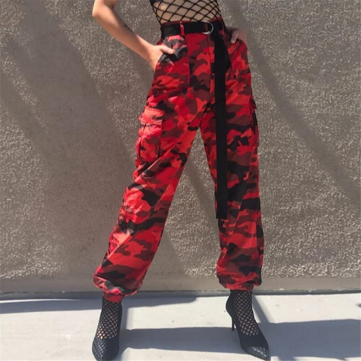 Women's Spring/Autumn Red Camouflage Cargo Pants