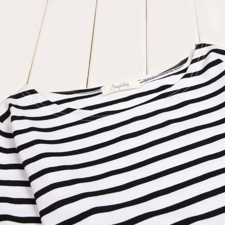 Women's Striped  O-Neck & Long Sleeves T-Shirt - Zorket
