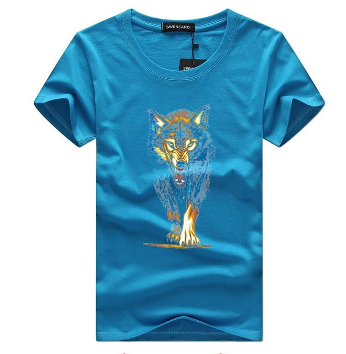 Men's Summer O-Neck T-Shirt With 3D Printed Wolf