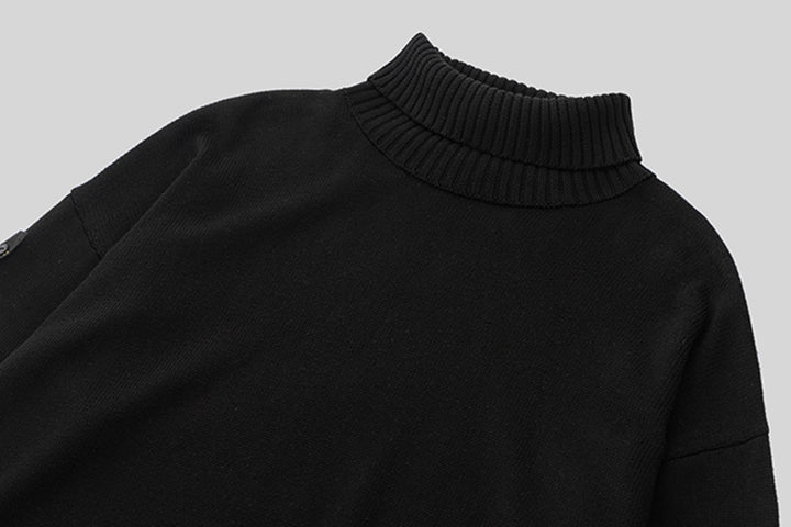 Men's Autumn/Winter Warm Soft Knitted Loose Pullover With Turtleneck