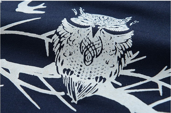 Men's Summer Cotton Short-Sleeved T-Shirt With Printed Owls