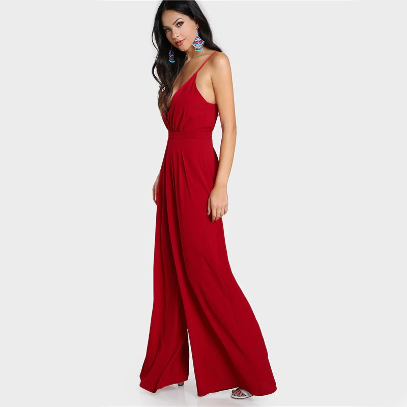 Women's Summer V-Neck Sleeveless Jumpsuit