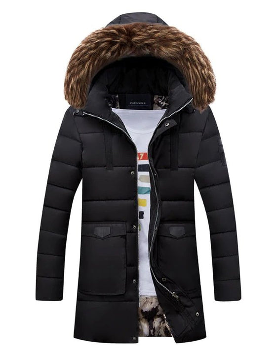 Men's Winter Warm Hooded Padded Quilted Long Parka