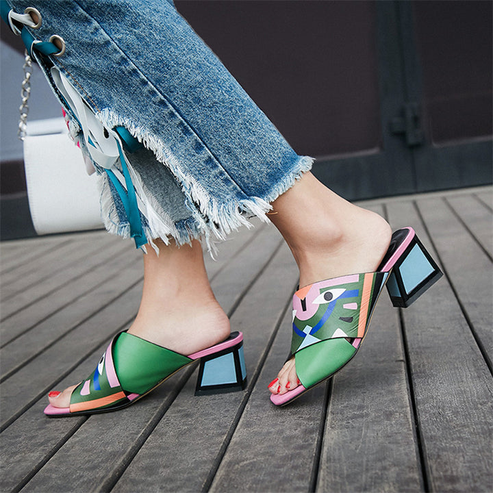 Women's Summer High Heels PU Leather Sandals
