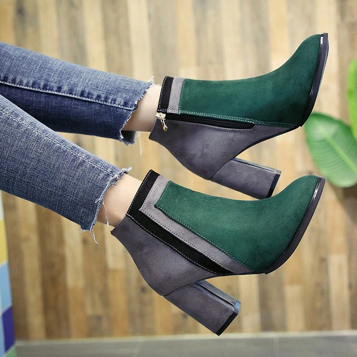 Women's Winter Thick Patchwork High-Heeled Ankle Boots