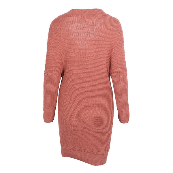 V-Neck Cross Knitting Sweater Dress | Long Sleeve Pullover