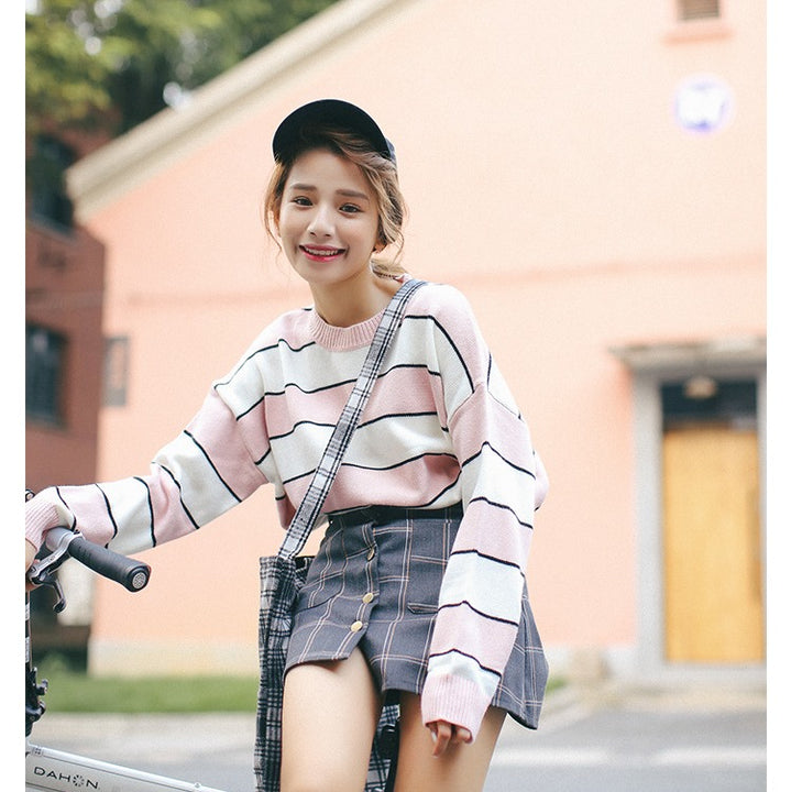 Women's Autumn Knitted O-Neck Loose Striped Pullover