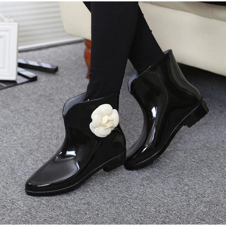 Women's Autumn Rubber Ankle Rain Boots With Decorative Flower/Bowtie