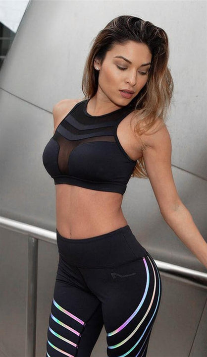 Women's Summer Stretch Cropped Padded Bra Top With Mesh Inserts