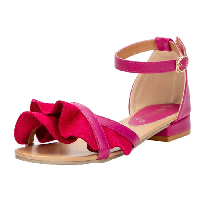 Women's Summer Buckle Strap Flat Sandals With Ruffles