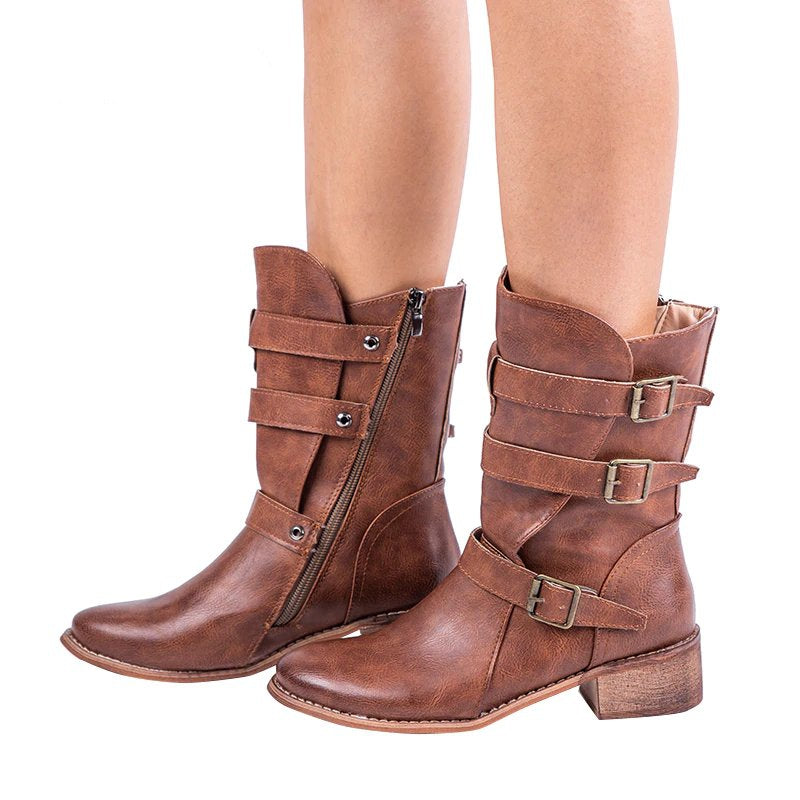 Women's Winter PU Leather Western Boots With Buckles