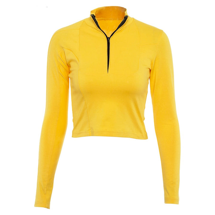 Women's Autumn Long-Sleeved High Neck Cropped T-Shirt