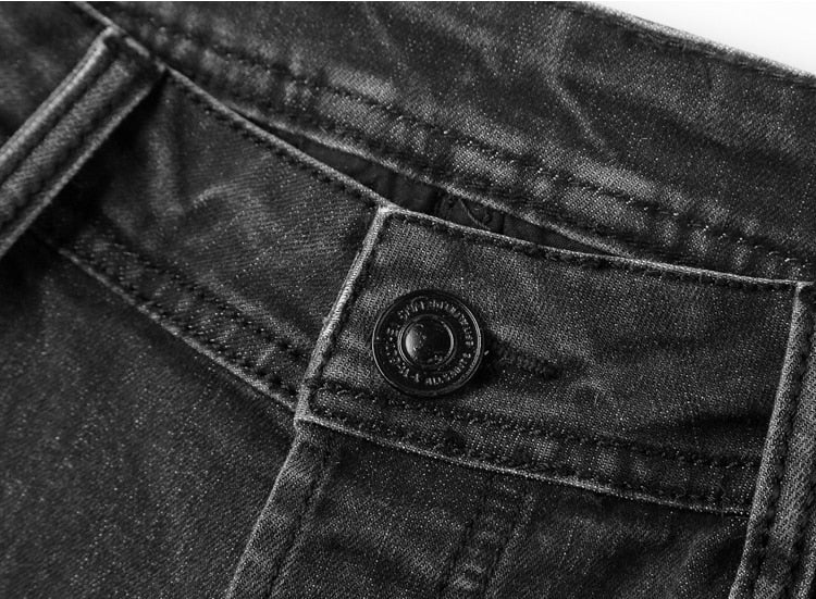Men's Autumn/Winter Washed Pleated Slim Jeans