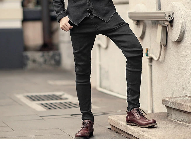 Men's Stretch Casual Long Pencil Pants | Men's Skinny Cotton Jeans