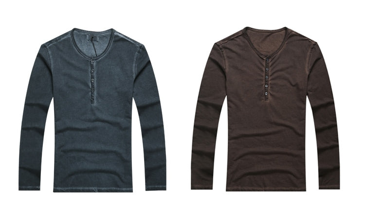 Men's Autumn/Winter Vintage Casual Henry Collar Long-Sleeve T-Shirt