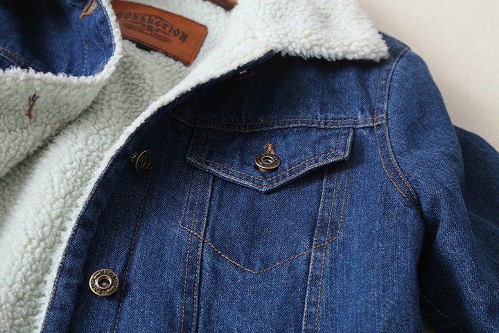 Women's Spring/Autumn Warm Denim Jacket With Lambswool Lining