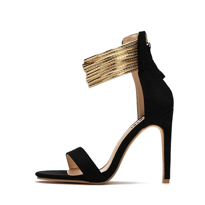 Women's Summer Gladiator High-Heeled Flock Sandals