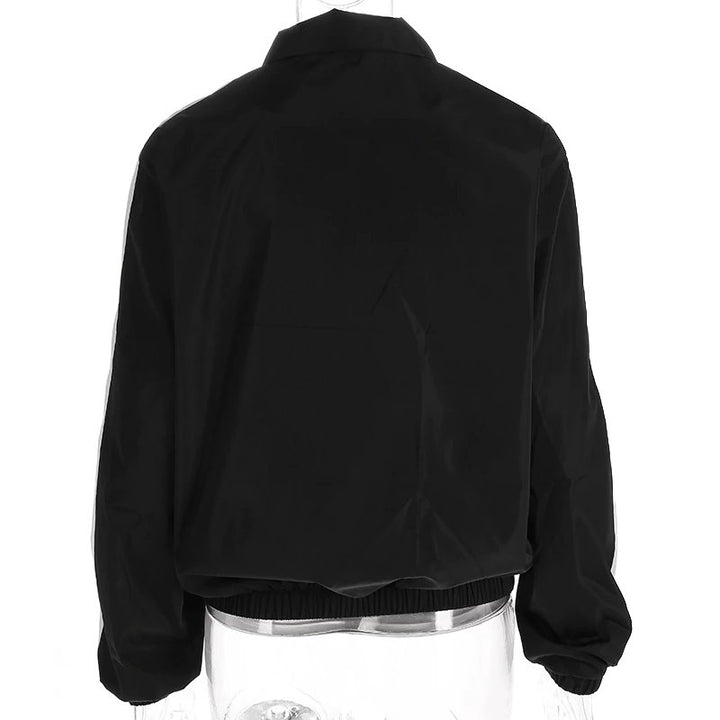 Women's Spring/Autumn Oversize Black Patched Windbreaker