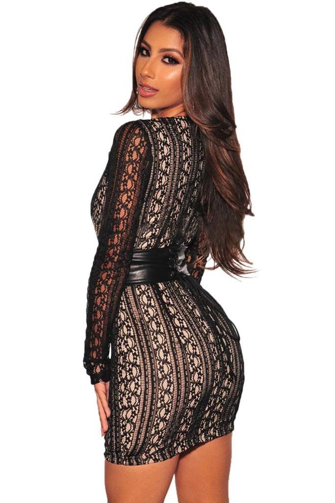 Women's Autumn Lace Nude Illusion Corset Belted Mini Dress