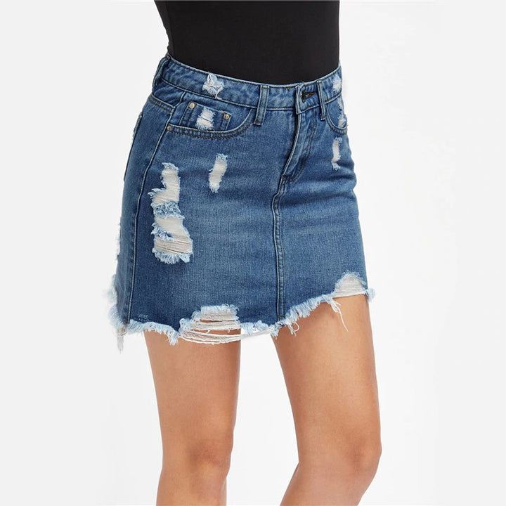 Women's Summer Denim Ripped Mini Skirt