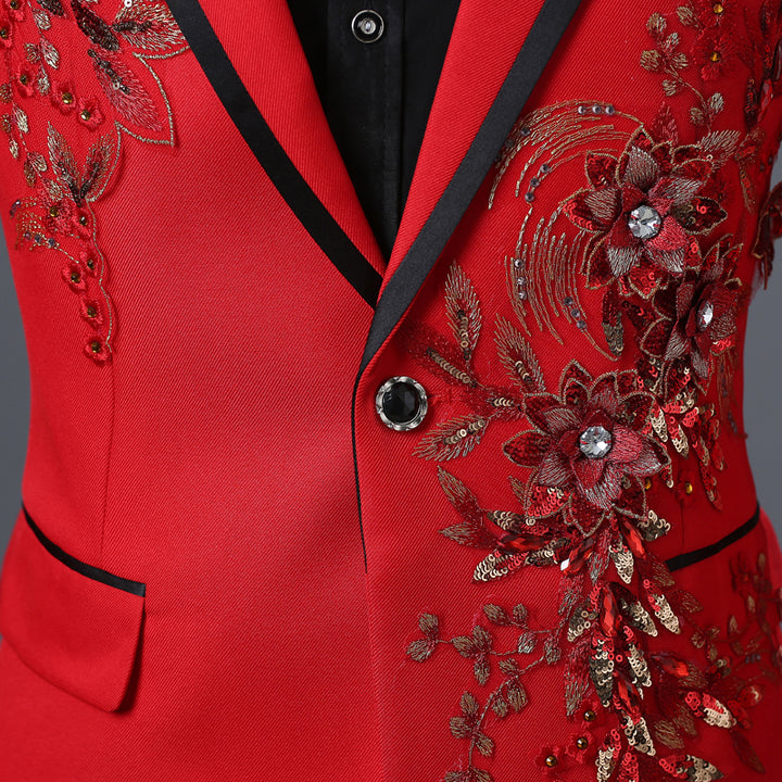Men's Spring/Autumn Double-Side Blazer With 3D Floral Embroidery