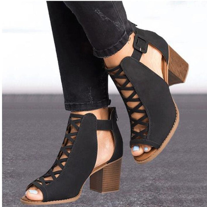 Women's Spring/Summer Flock Leather Square-Heeled Peep Toe Pumps | Ladies Ankle Sandals