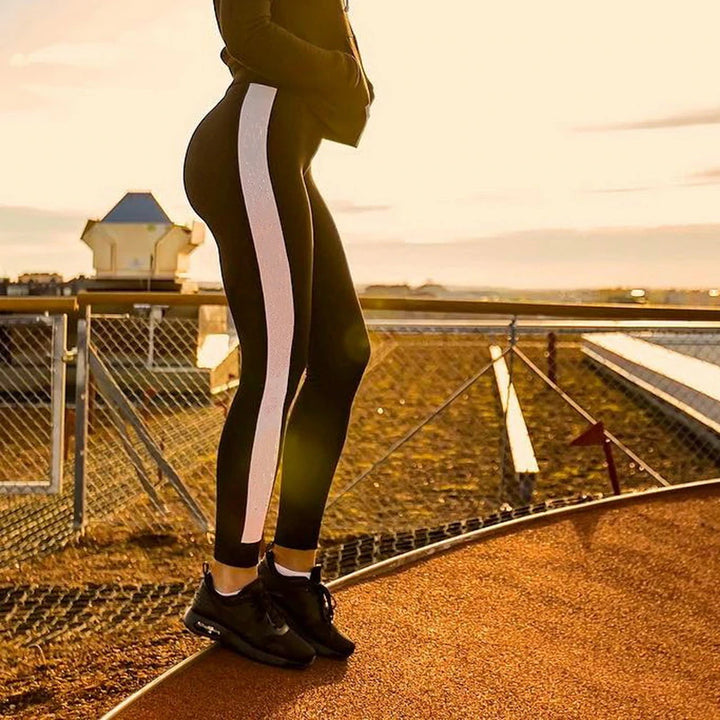 Women's Coloured Leggings With Strip