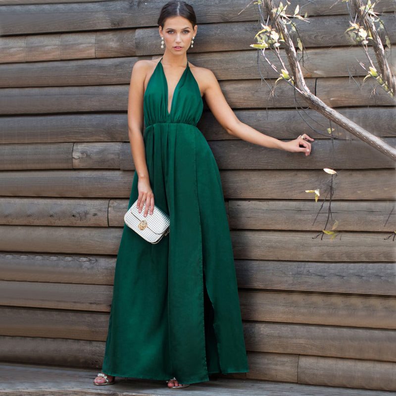 Women's Summer Satin Sleeveless Cross-Back Maxi Dress