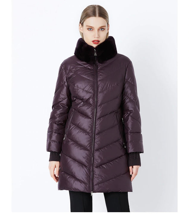 Women's Winter Windproof Thick Down Coat With Rabbit Fur Collar