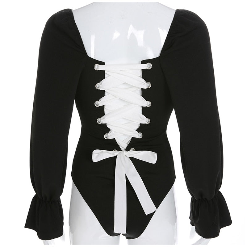 Women's Spring/Autumn Panelled Laced-Up Bodysuit With Long Flare Sleeves