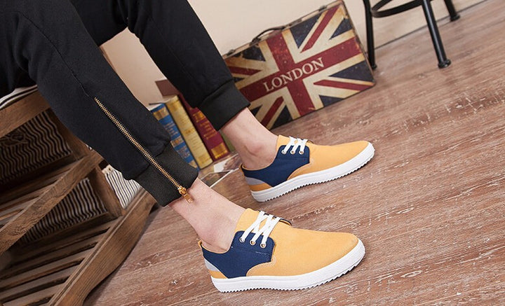 Men's Mixed Colors Lace Up Canvas Loafers - Zorket