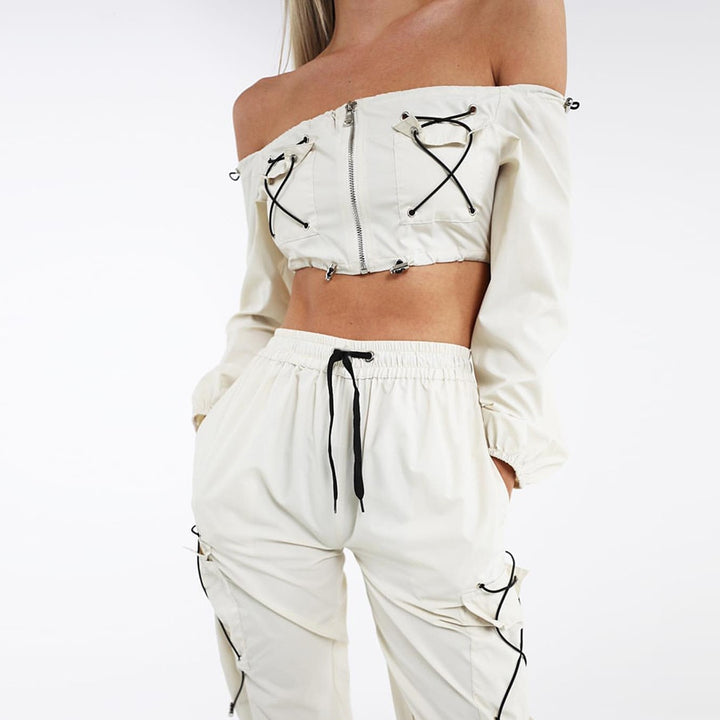 Women's Autumn Slash Neck Off-Shoulder Two-Piece Suit