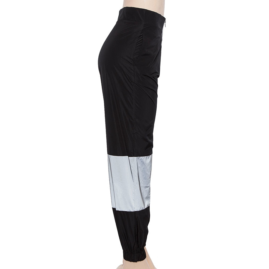 Women's Spring/Autumn High Waist Cargo Pants With Reflective Inserts