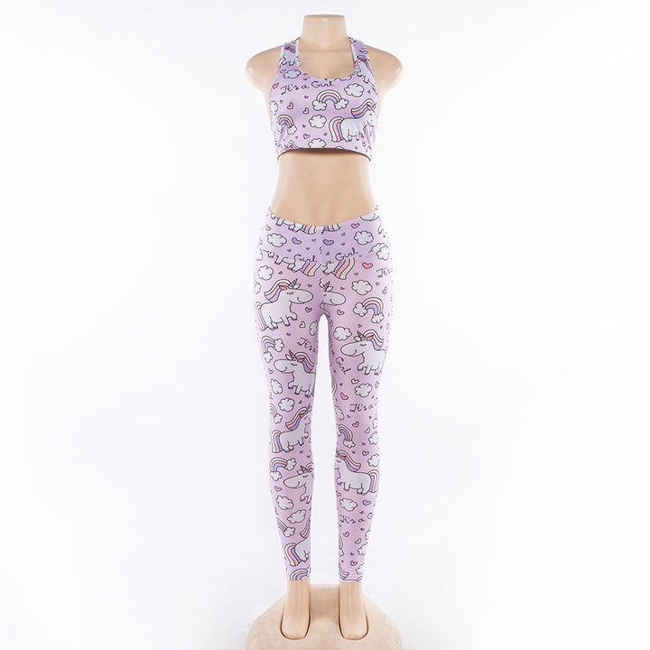 Women's Summer Elastic Fitness Set With Unicorns | Top & Leggings