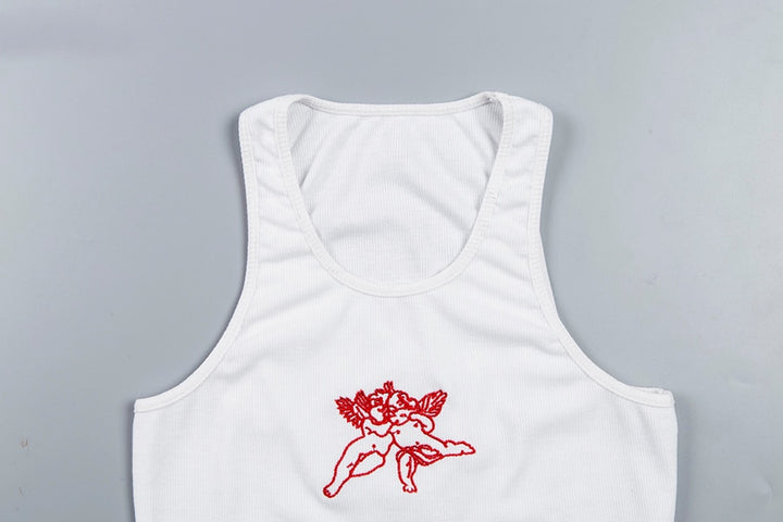 Women's Summer Sleeveless Crop Tank Top With Embroidered Cupids