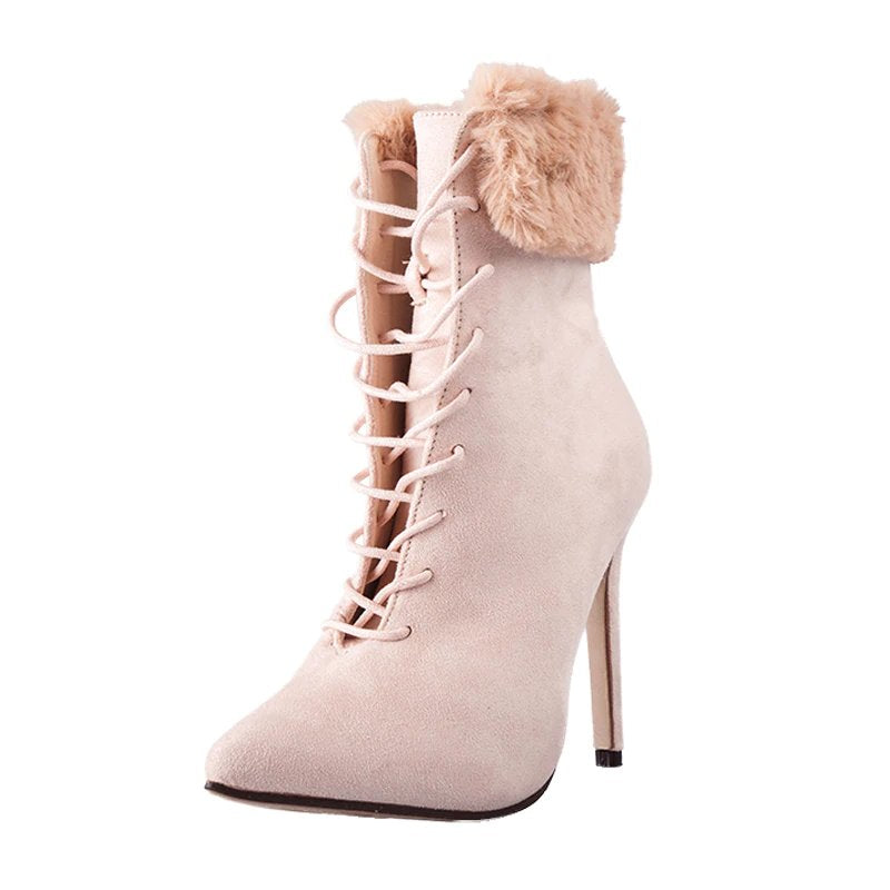 Women's Autumn/Winter High-Heeled Suede Ankle Boots