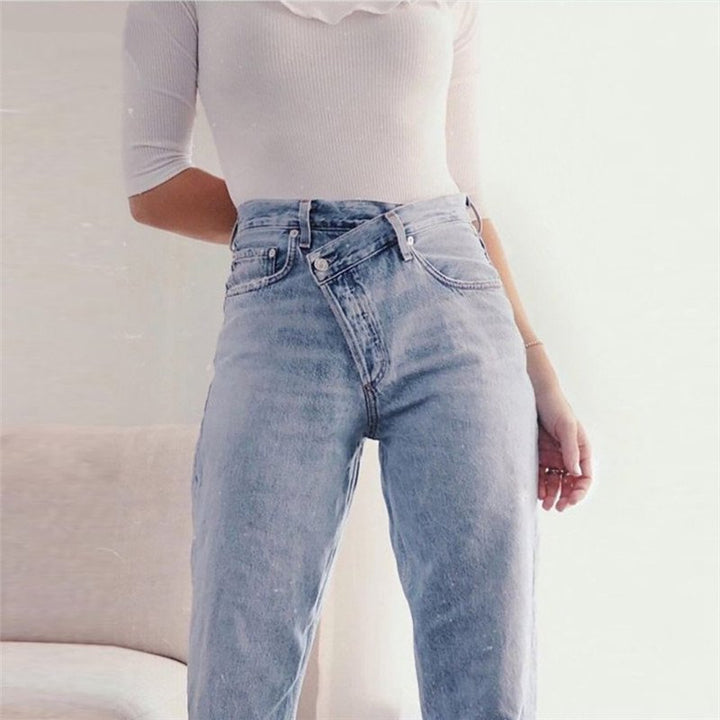 Women's Spring Casual Cotton High Waist Loose Jeans
