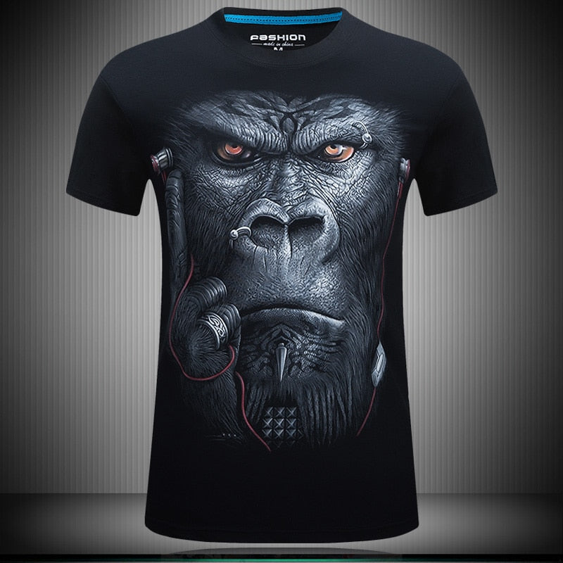 Men's Summer O-Neck Short-Sleeved T-Shirt With 3D Printed Gorilla