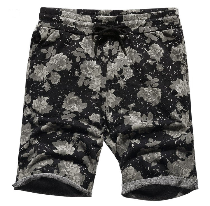 Men's Summer Loose Quick-Dry Cotton Shorts With Floral Pattern