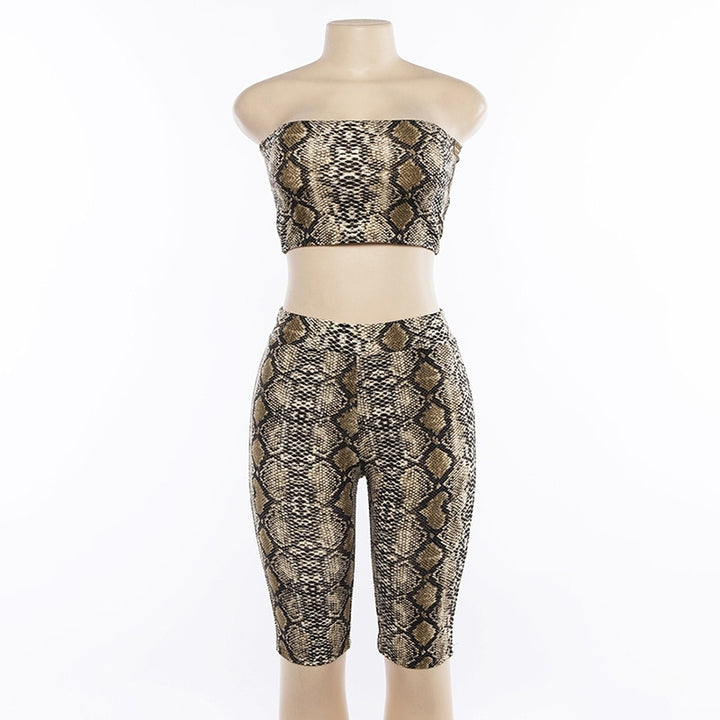 Women's Summer Snake Skin Pattern Fitness Set | Sleeveless Top & Elastic Waist Shorts