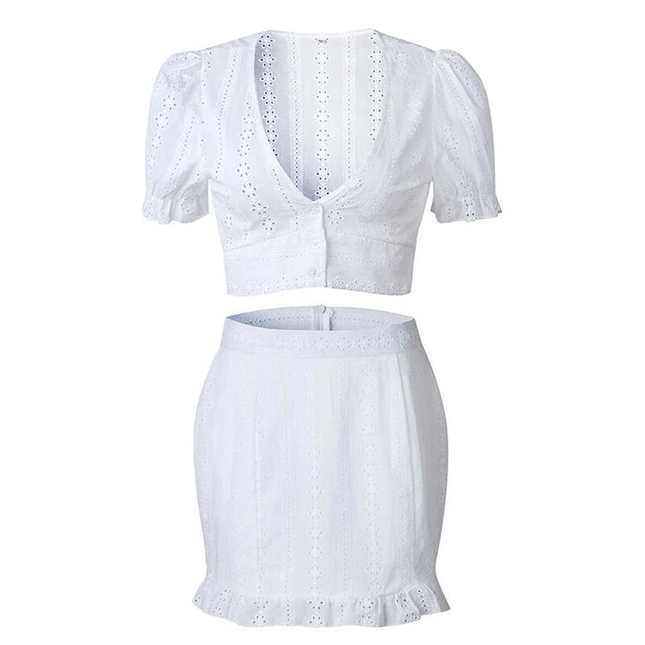 Women's Summer Two-Piece V-Neck Lace Mini Dress With Ruffles