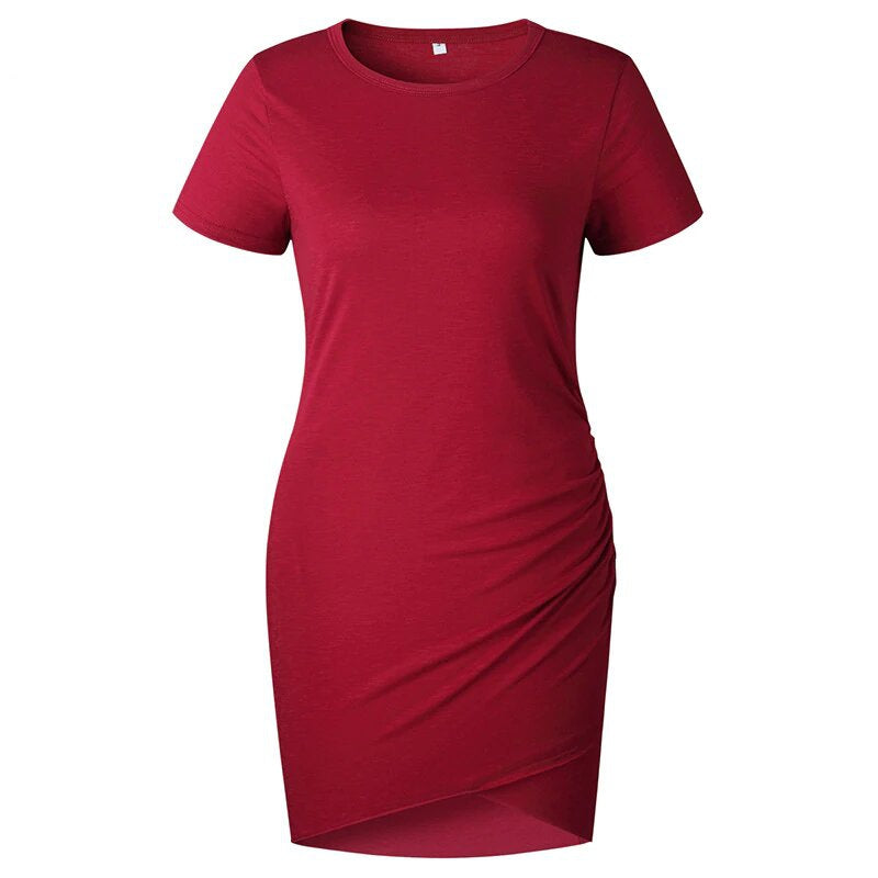 Women's Summer O-Neck Short-Sleeved Asymmetrical Ruched Mini Slim Dress