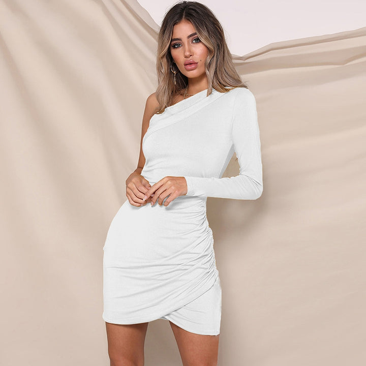 Women's Spring/Summer One-Shoulder Ruched Slim Mini Dress