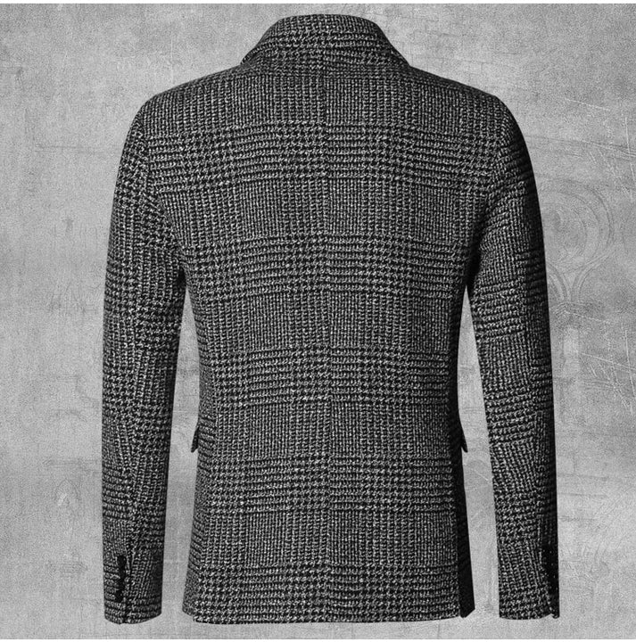 Men's Autumn/Winter European Style Slim Lattice Woolen Blazer