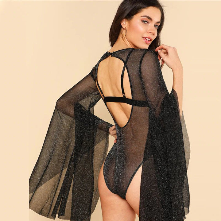 Women's Summer Glitter Backless Mesh Bodysuit With Exaggerated Bell Sleeves