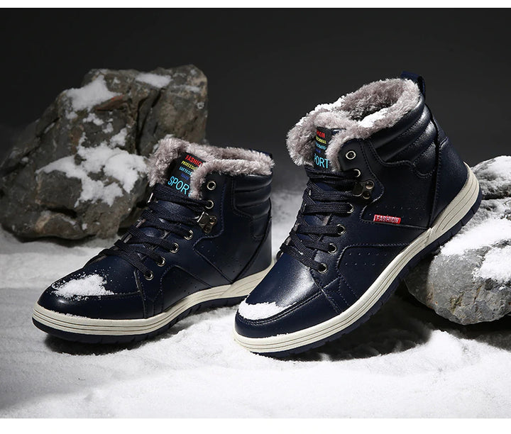 Men's Winter of Artificial Leather Waterproof With Fur Shoes