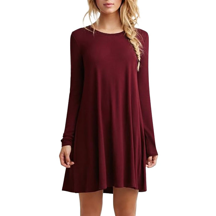 Women's Autumn/Winter Casual Long-Sleeved Loose Mini Dress